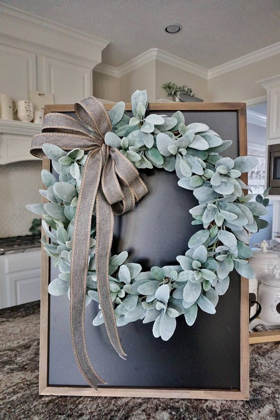 """Photo of 12 """"to 32"""" Lamb's Ear Grapevine wreath. Peasant wreath. Lamb ear wreath. Door wreath. …"""