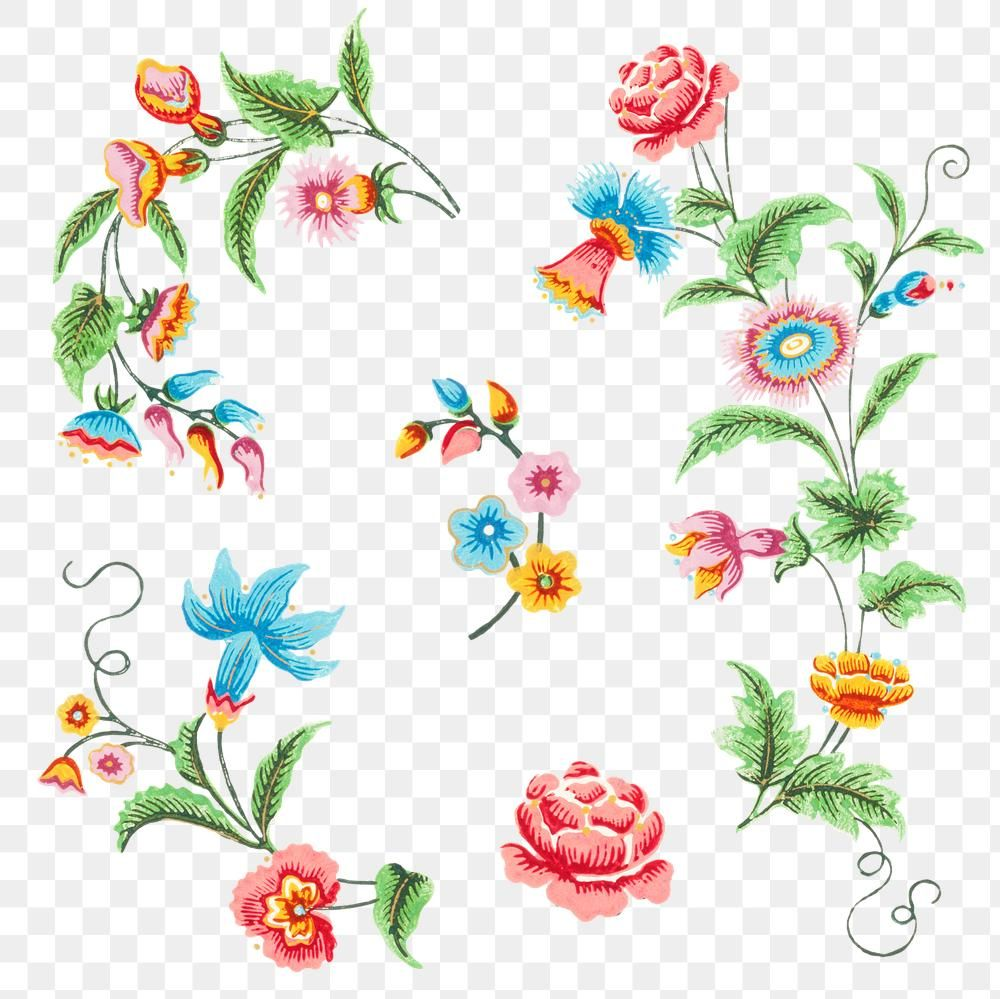 Colorful Flowers Png Vintage Sticker Free Image By Rawpixel Com Boom Floral Drawing Colorful Flowers Free Illustrations
