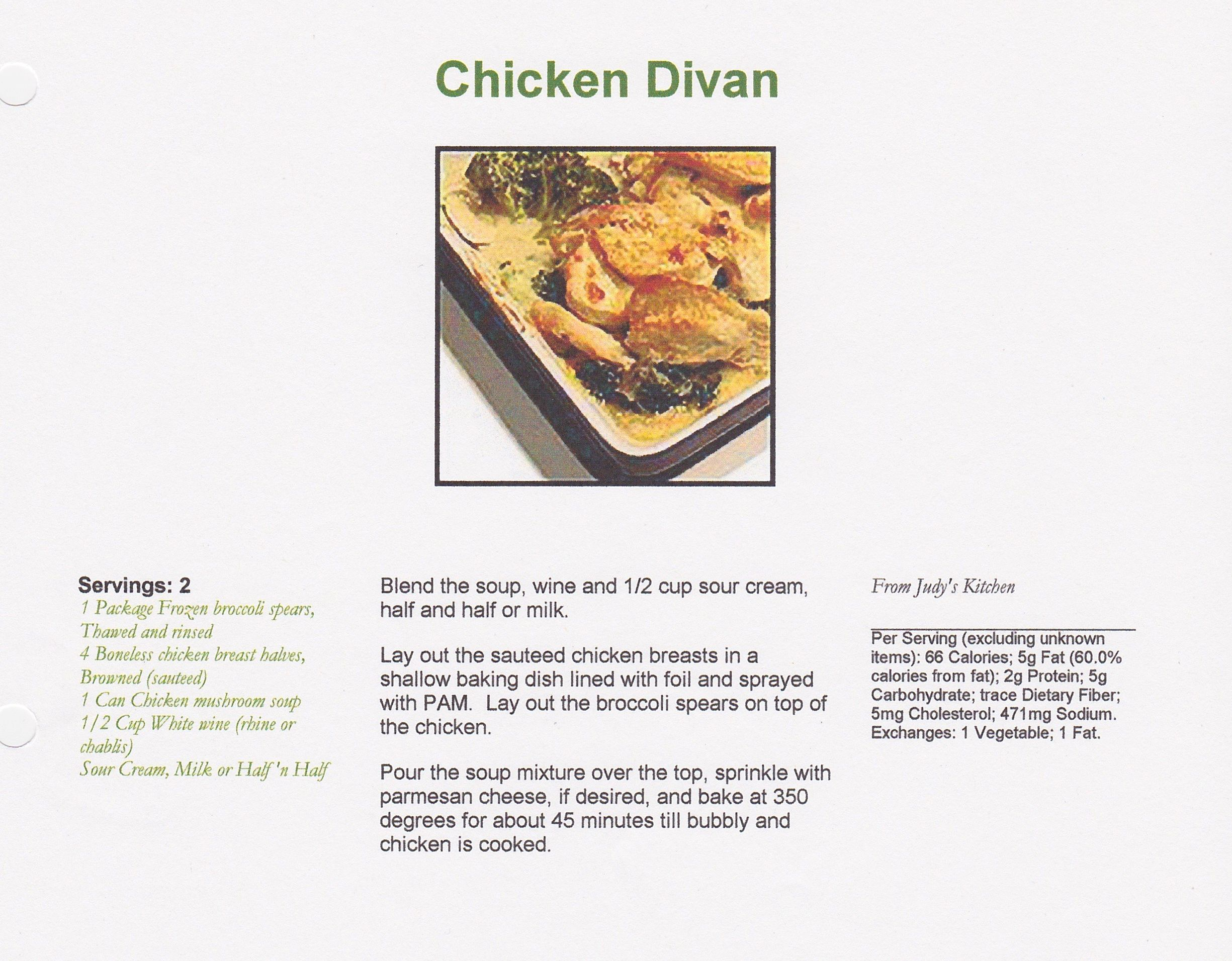 chicken divan from judys kitchen - Judys Kitchen 2