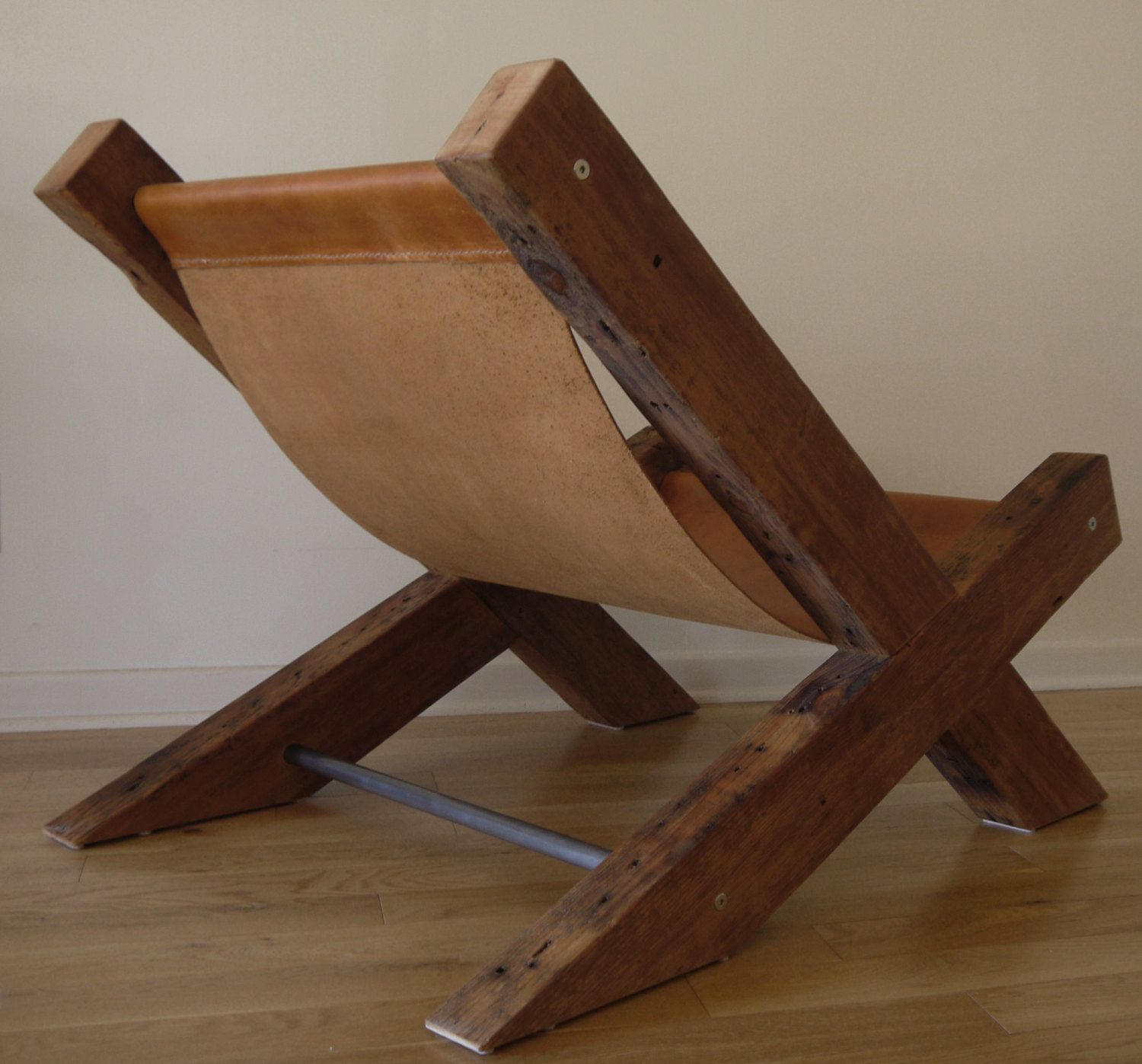 Reclaimed Wood and Leather Lounge Chair Handmade by TicinoDesign