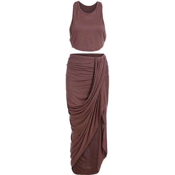 Crop Tank Top With Folds Asymmetrical Skirt (22 CAD) ❤ liked on Polyvore featuring skirts, dresses and brown