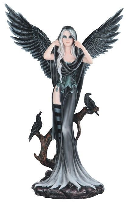 black blue Gothic Tattoo Dark angel fairy princess LED night light DRAGON Statue