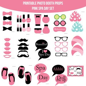 Pink Spa Party Printable Photo Booth PhotoBooth Props Only 499 Buy It Now At