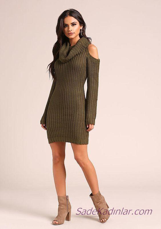 2020 Bayan Kis Modasi Triko Elbise Yesil Kisa Bogazli Omuz Dekolteli Moda Kiyafetler The Dress Elbise