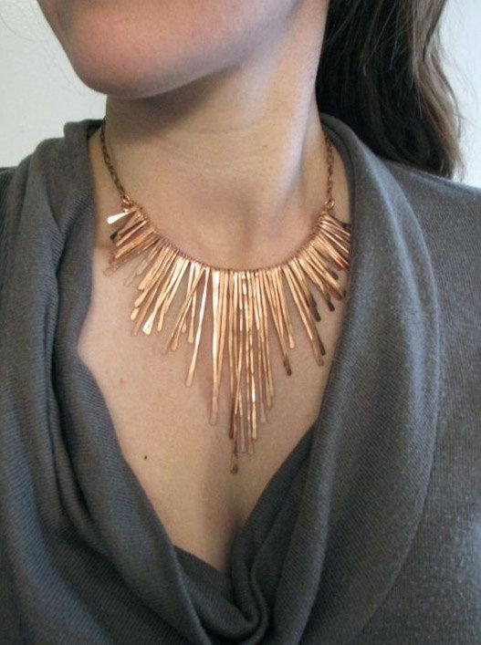 fbdcc0cee2b52a Copper Fringe Necklace - Rough Edge Athena - Handmade in my studio in  Austin,Tx