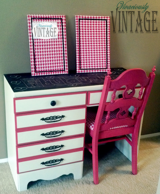 Girls desk painted and distressed with a stencil top painted