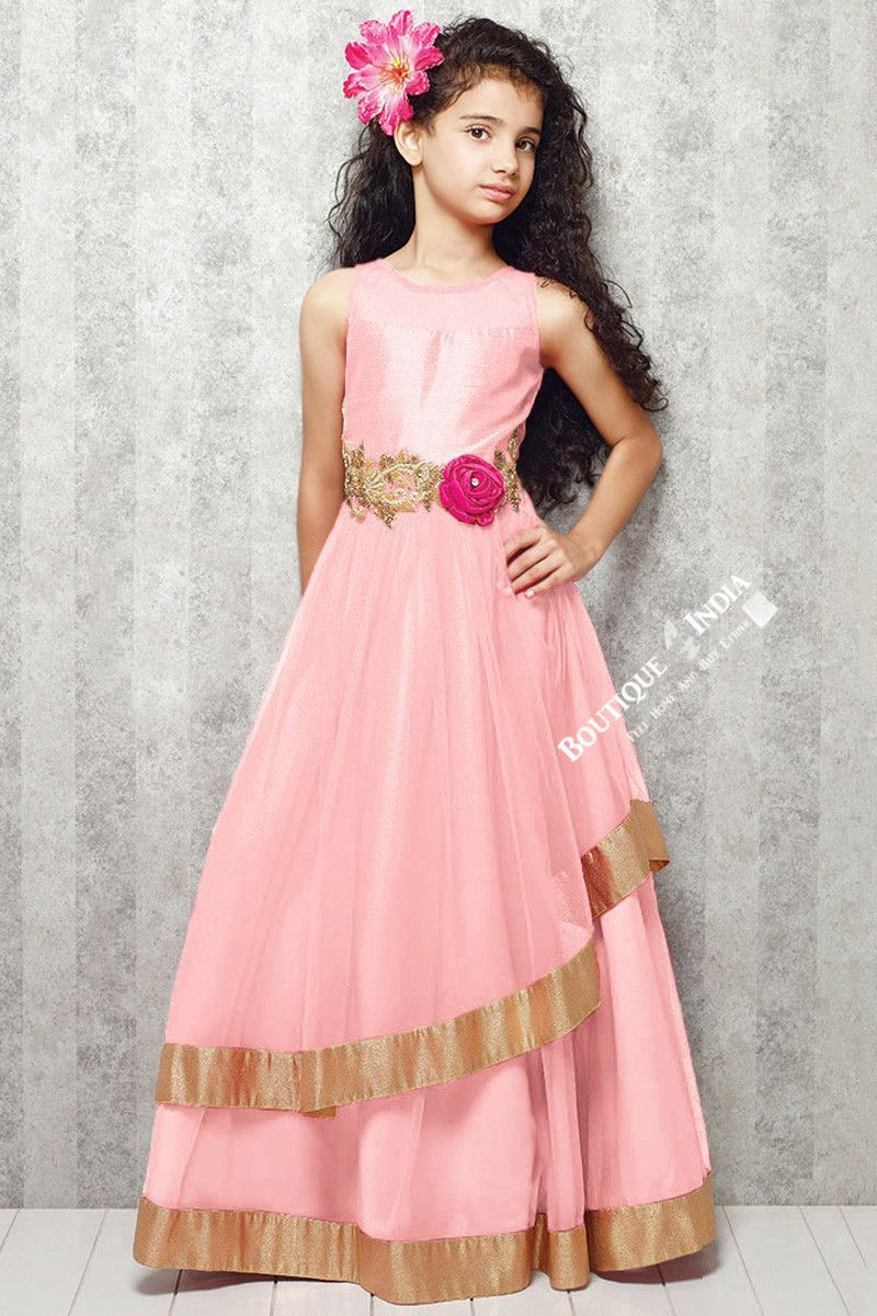 Girl\'s - Light Pink And Golden Casual Gown/Dress - Gilr\'s Casual And ...