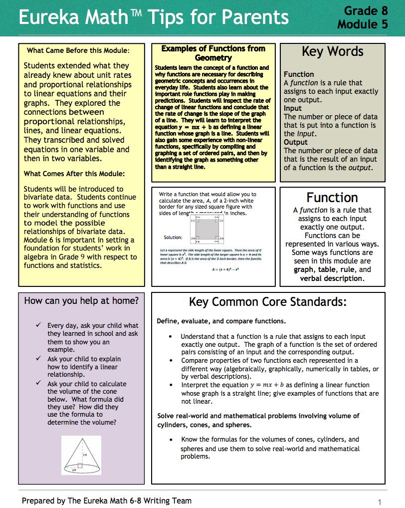 Grade 8 Module 5 Tips For Parents Each Tip Sheet Is Designed To Provide Module Support At Home Eureka Math 8th Grade Math Math [ 1018 x 812 Pixel ]