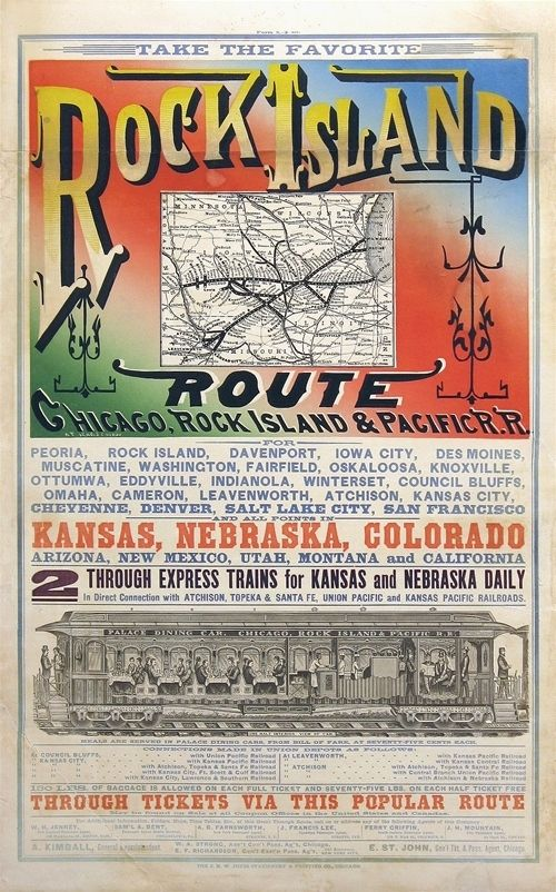 1880s Travel Via The Chicago Rock Island Pacific Railroad The