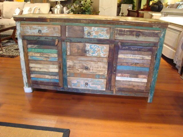 India Reclaimed Wood Painted Shutter Buffet Cabinet Plasma TV Stand #1