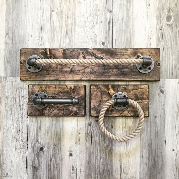 Rustic Distressed Rope Bathroom Set Of 3 Handmade Etsy Rustic