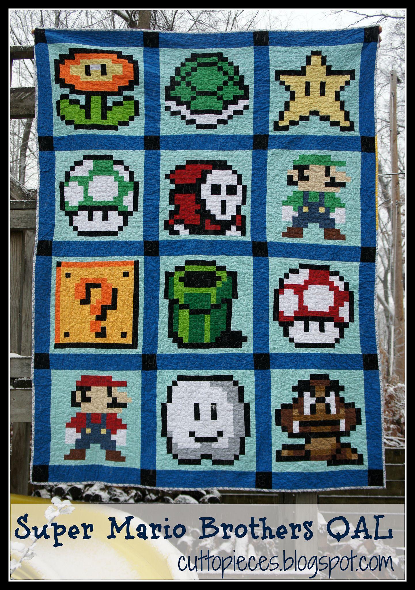Super Mario Brothers Qal Mario Quilt Pixel Quilting Mario Quilt Pattern