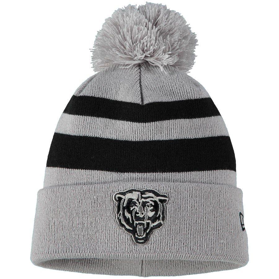 5cd2793d4 Men s Chicago Bears New Era Gray Rebound Pom Cuffed Knit Hat
