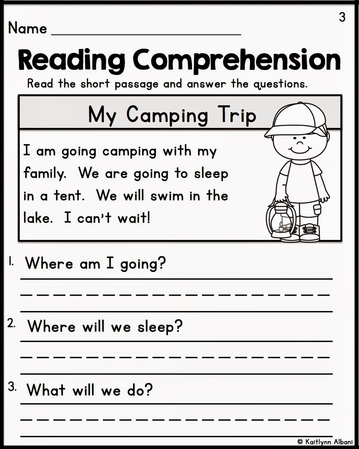 Kindergarten Reading Prehension Passages