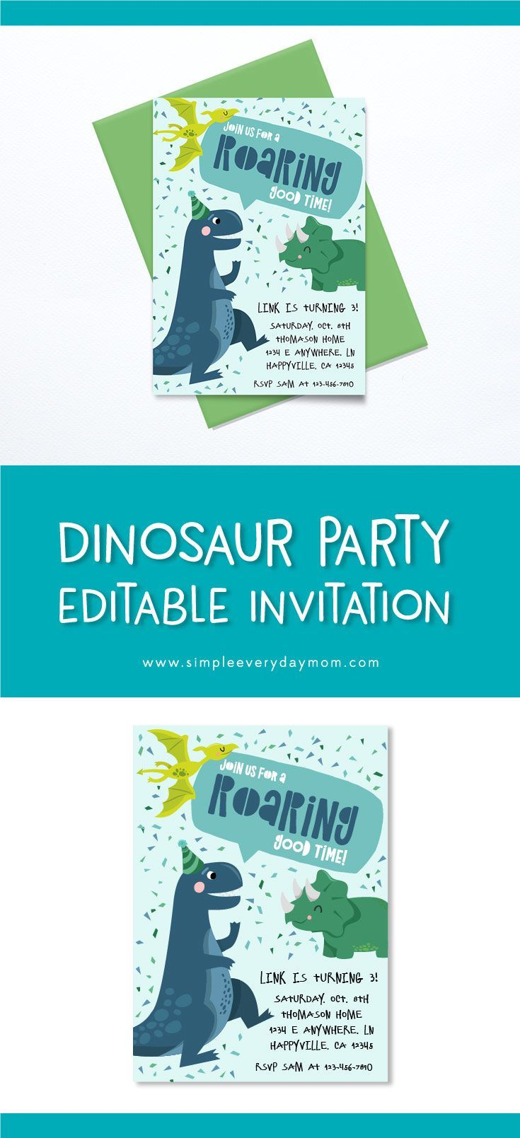 A Terrific TRex Dinosaur Birthday Party Printable Pack For Kids