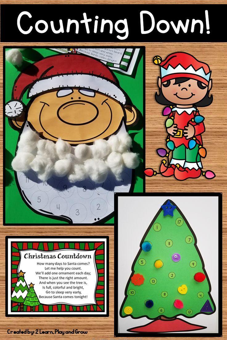 How Many Days To Christmas.Christmas Countdown With Santa Or Tree Craftivity K 2
