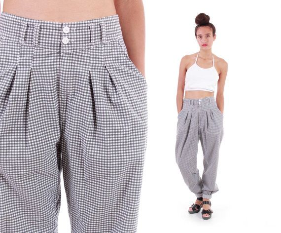 010d341ee Checkered High Waist Pants 90s Plaid Trousers Baggy Tapered Leg Pleated  Hipster Vintage Clothing Womens Size Small