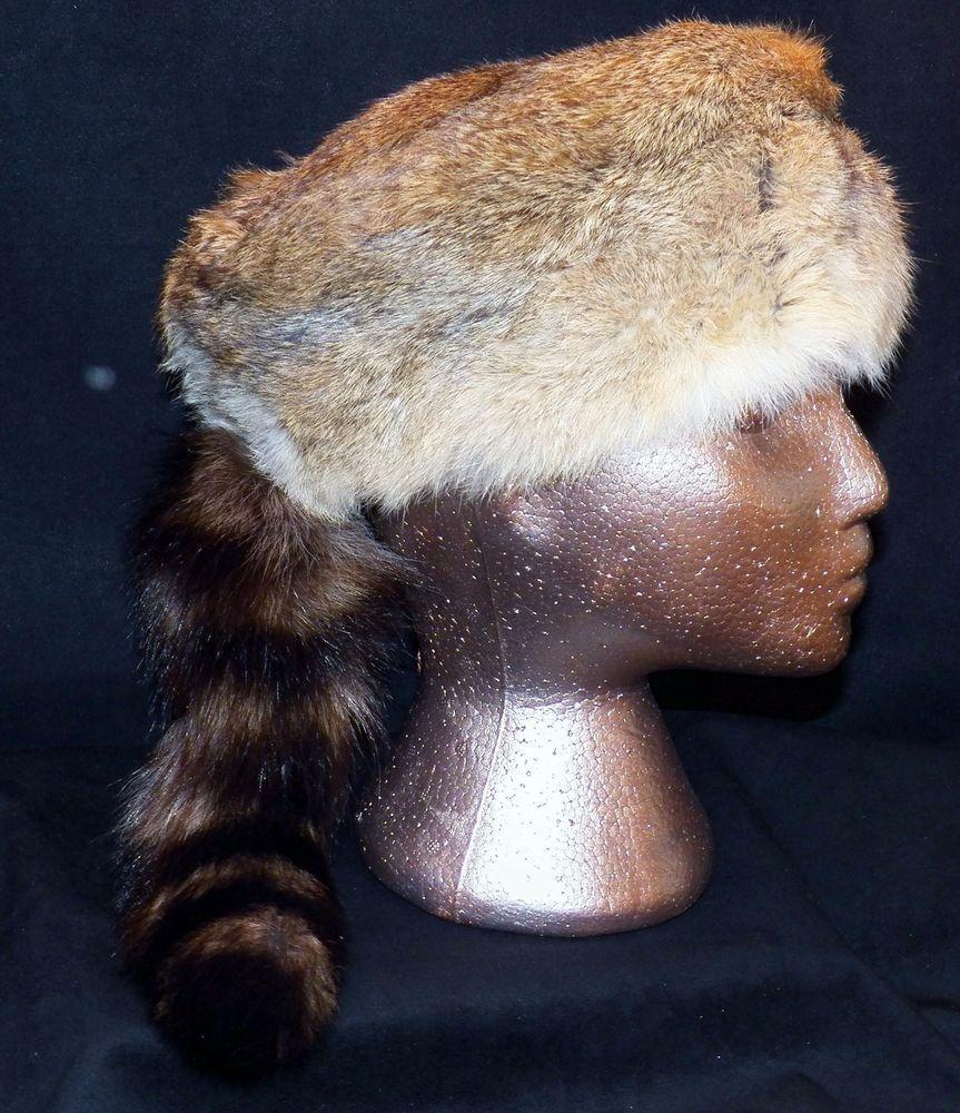 0ab6432a2d0 Davy Crockett Coonskin Cap Real Rabbit Fur Raccoon Tail Mountain Man Hat  Medium
