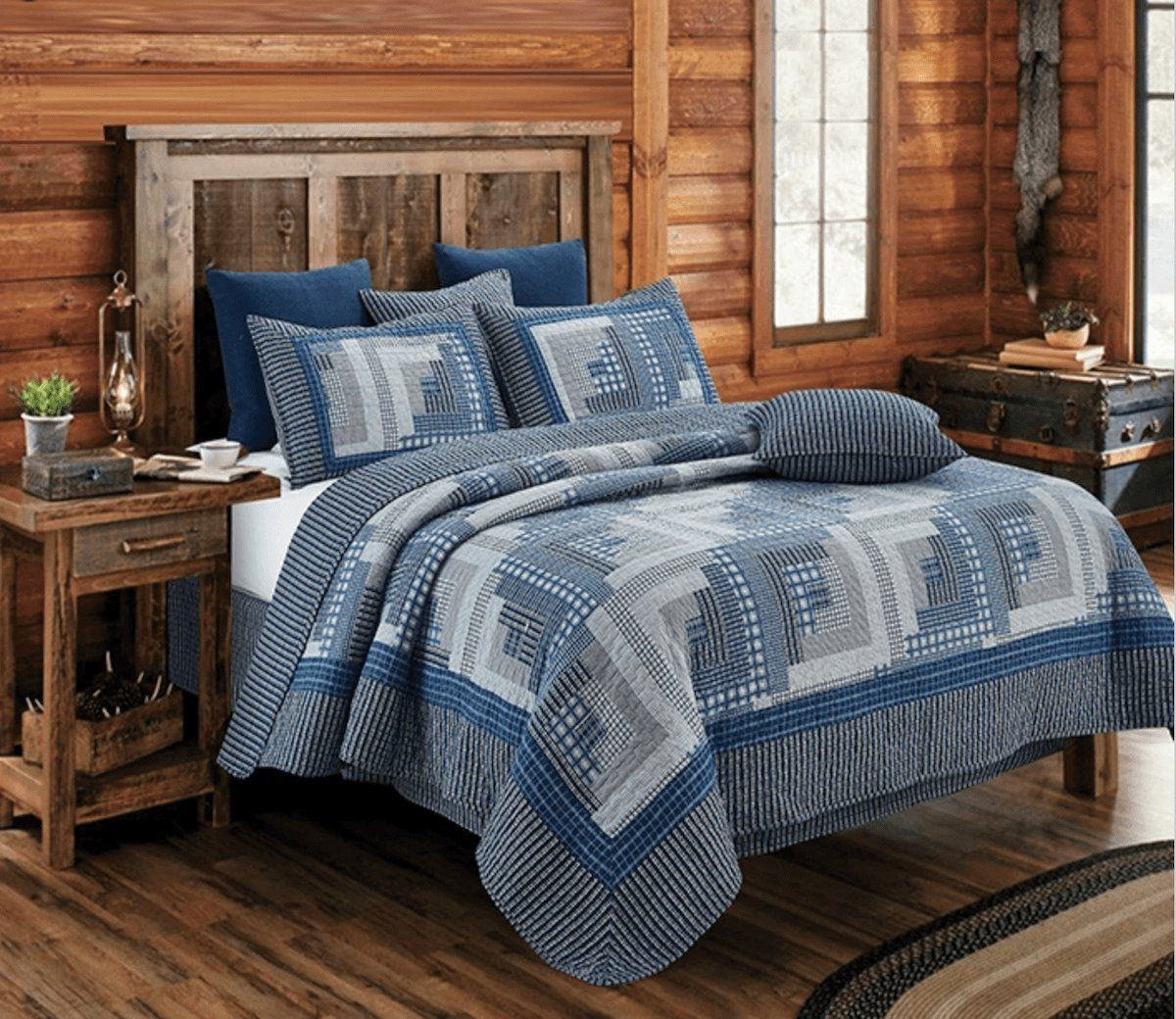 Montana Cabin Blue/Gray Quilt Set King *** To view further