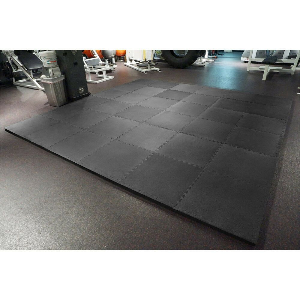 Meister 1 5 Puzzle Floor Mats Extra Thick Home Gym Play Foam Wrestling Black Ebay Home Gym Flooring Gym Flooring Flooring