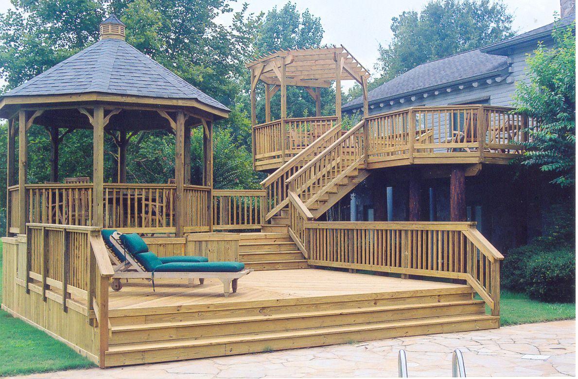 Poolside Multilevel Deck With Gazebo Design Ideas Archadeck Gazebo On Deck Backyard Shade Decks Backyard