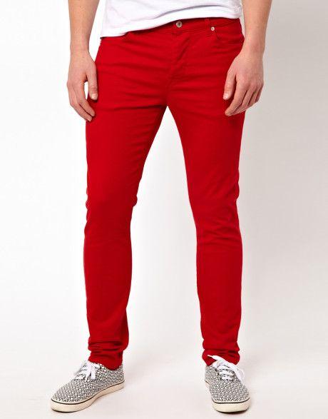 6265182494 Men s Red Asos Skinny Jeans