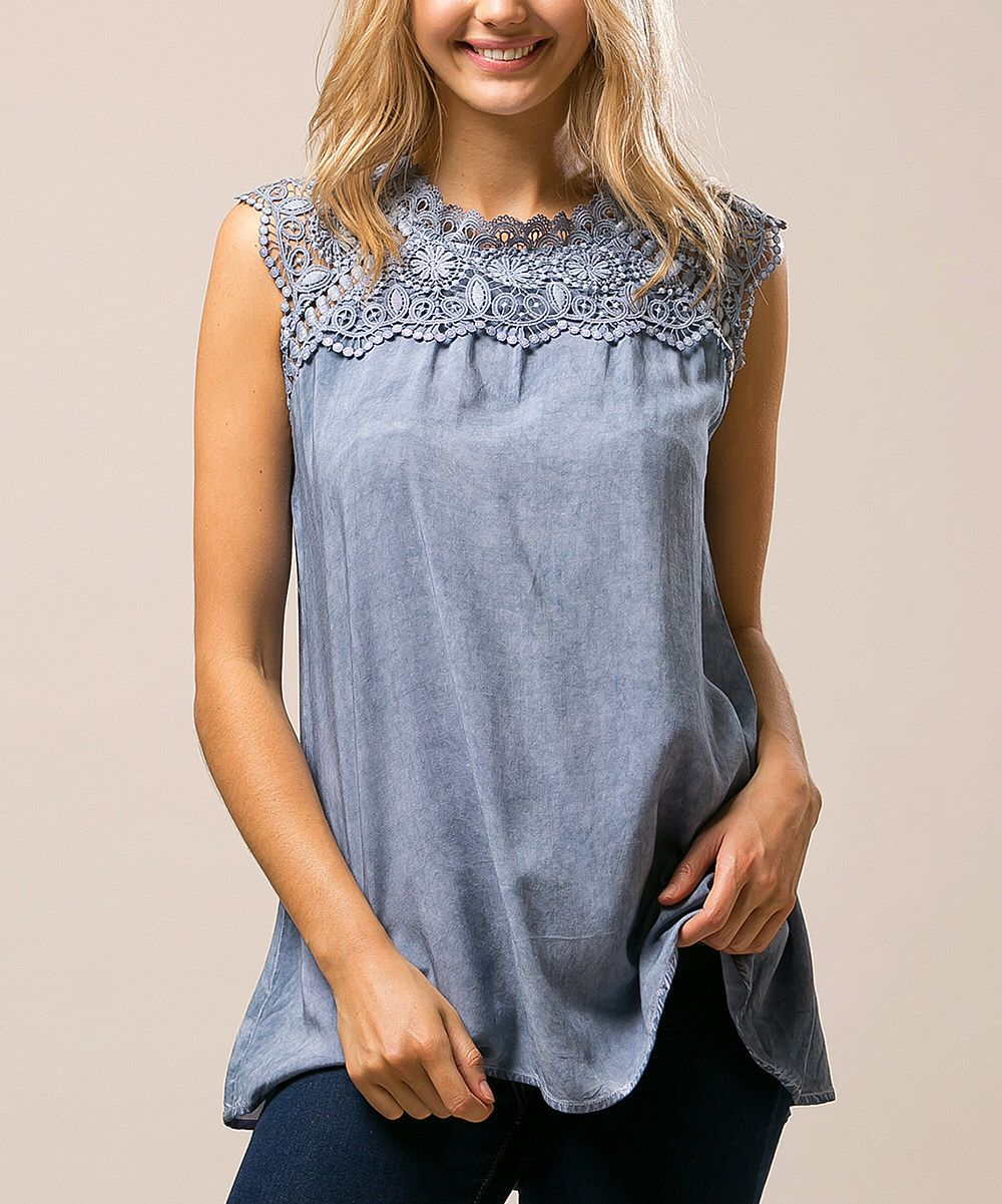 Look at this Andrée Blue Crochet-Yoke Cap-Sleeve Top on #zulily today!