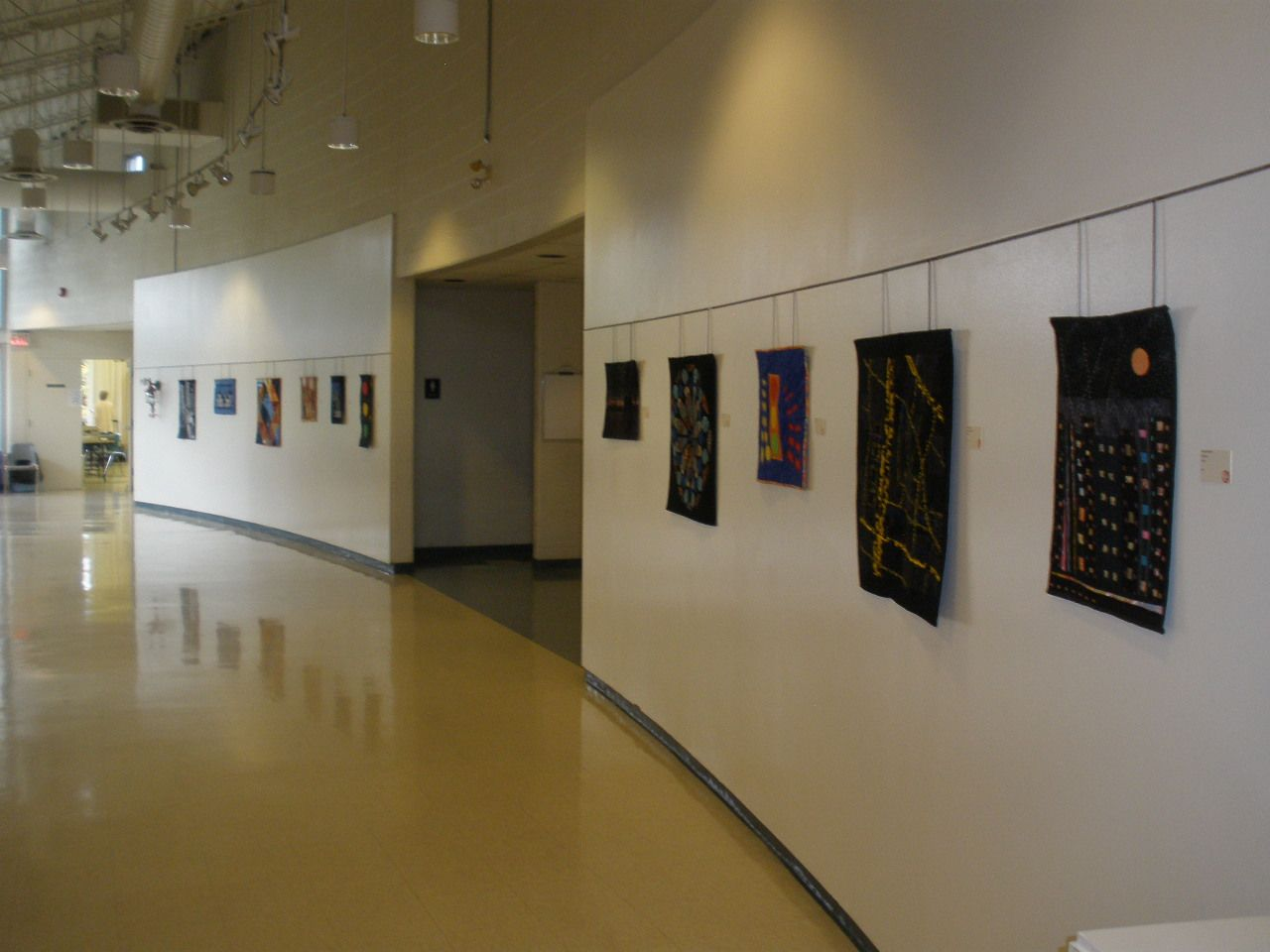 Looking down the hall at Neilson Park, towards the quilters' studio