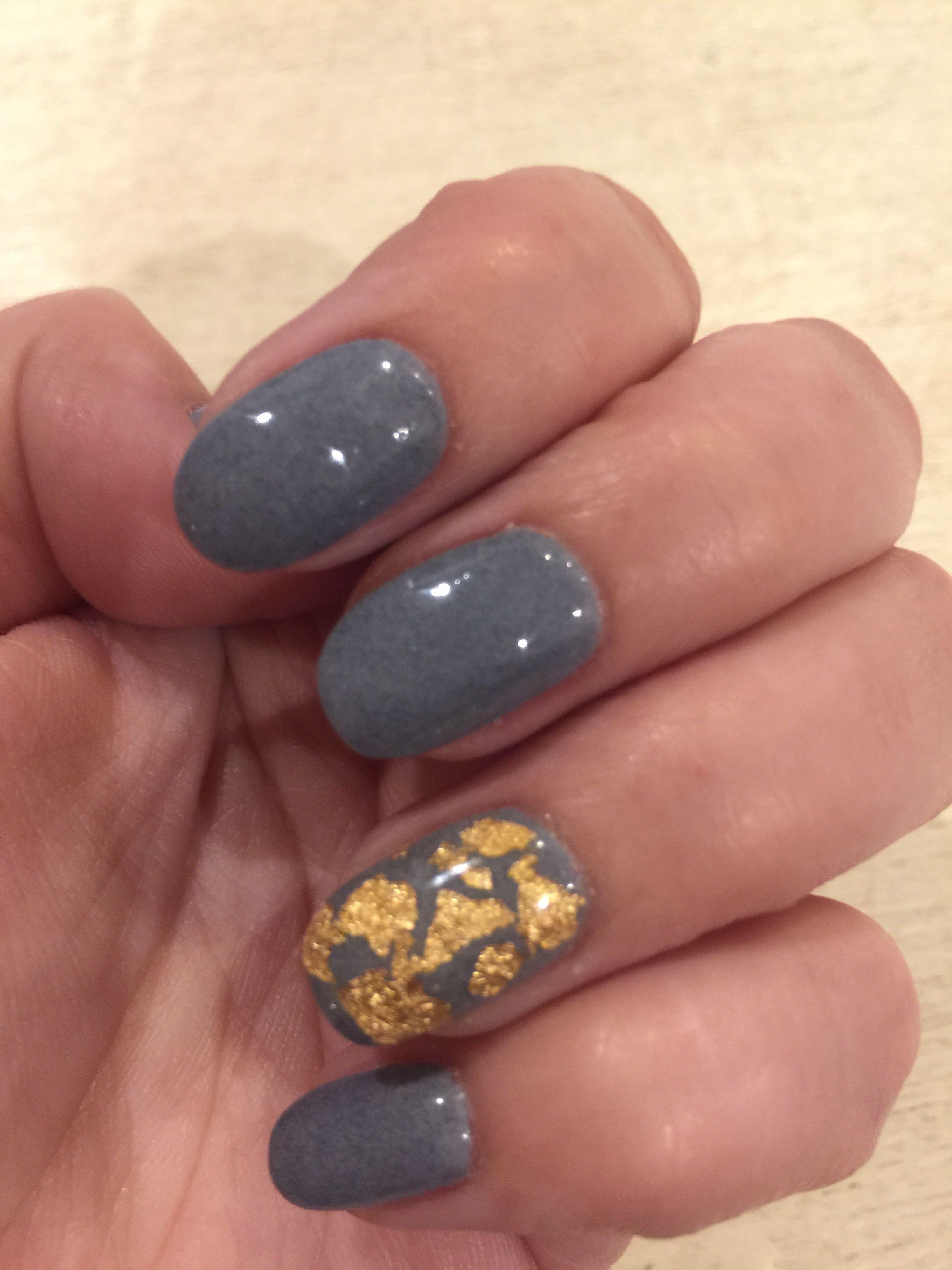 Kiara Sky Dip Powder With Gold Foil Powder Nails Dip Powder Nails Winter Nails Acrylic