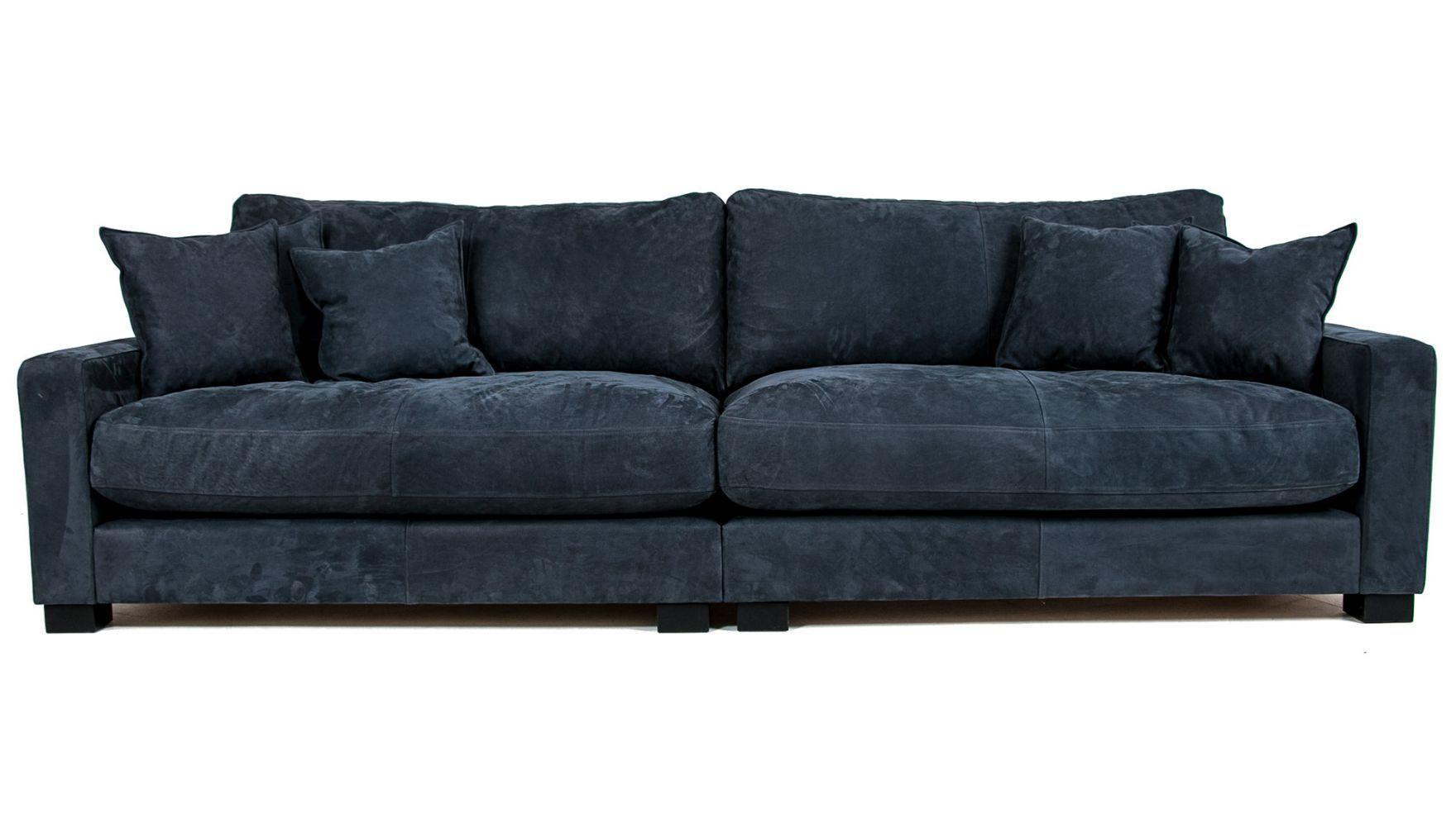 Blå Valen XL skinnsoffa Soffa, skinn, djup, låg, dun, rymlig, vardagsrum, möbler, möbel