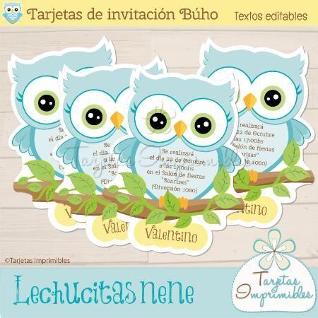 Invitaciones Lechucitas O Búhos Nene Tarjetas Para Editar E