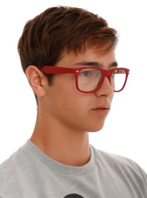 Red Smooth Touch Retro Clear Lens Glasses