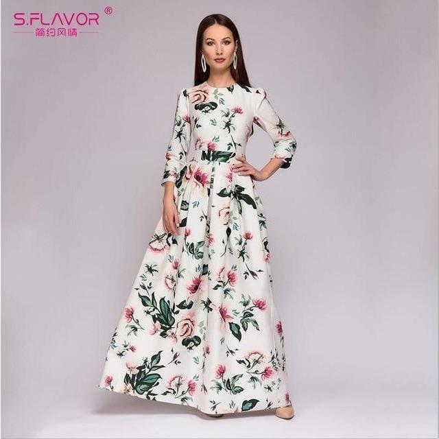 5cd9131161a S.FLAVOR Bohemian style long dress 2018 Autumn Winter women printing party dress  Elegant O-neck simple vestidos de festa