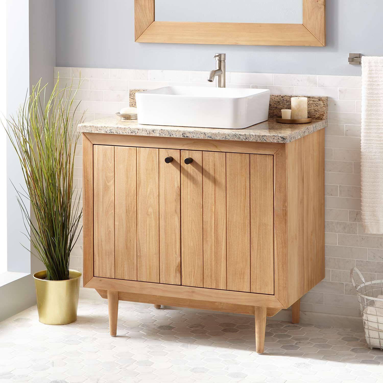 36 Osa Teak Vessel Sink Vanity Natural Teak Absolute Black Granite No Faucet Hole Signature Hardwa In 2021 Teak Bathroom Vanity Teak Vanity Vessel Sink Vanity [ 1500 x 1500 Pixel ]