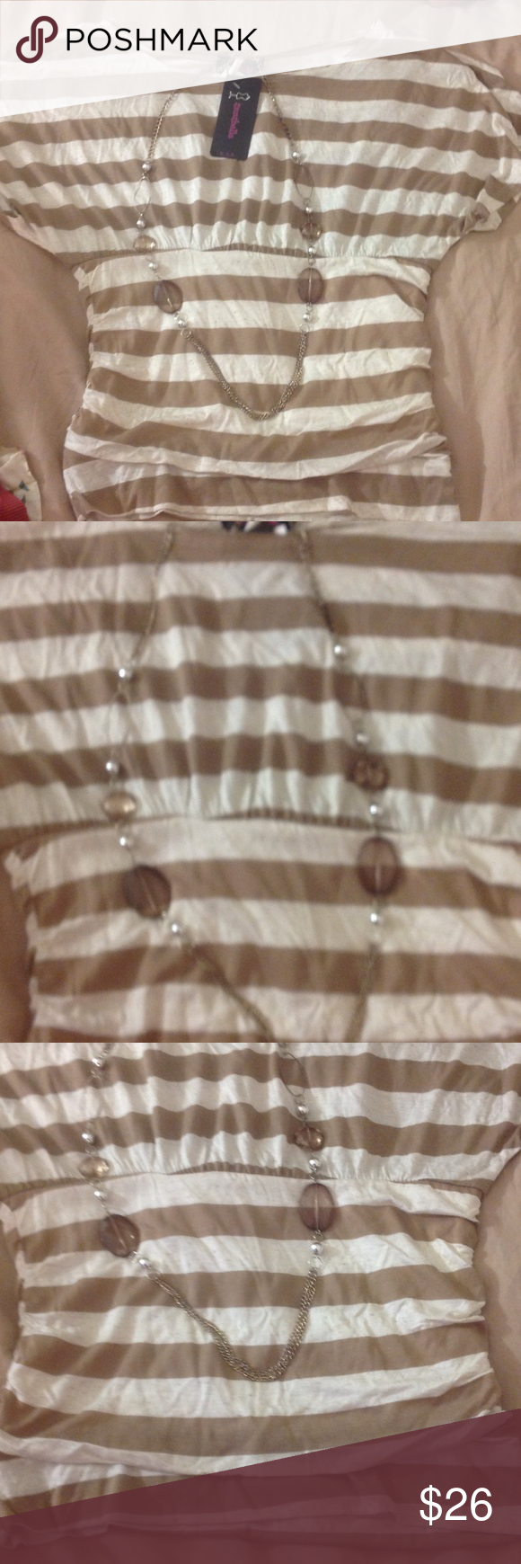 Beautiful brand new striped Blouse with necklace This is a brand-new striped blouse cinched at the waist with the necklace attached although it can be removed to wear separately. Soft material   Brand is Annabella not Guess Guess Tops Blouses