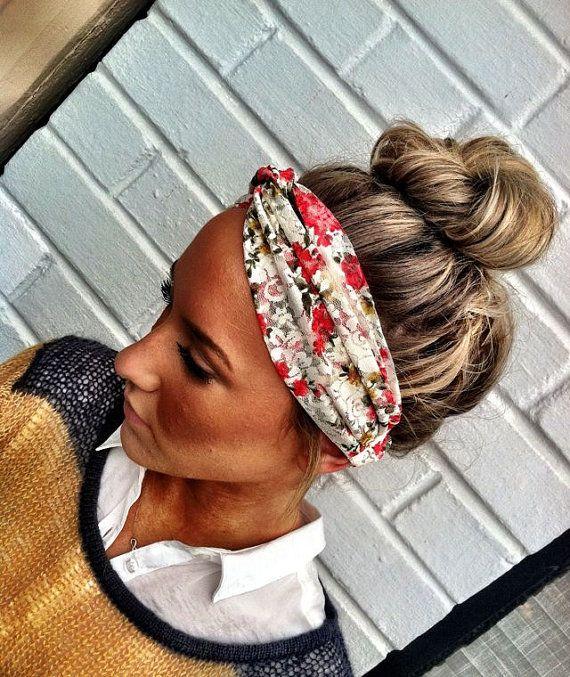 Stretchy Lace Turban Headband - Cream Vintage Floral Lace Twisted Headband Turban from Three Bird Nest shop (Etsy)