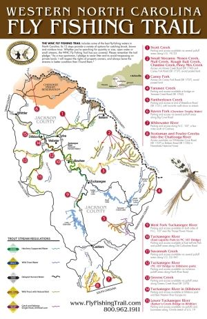 A Detailed Map Of Western North Carolina S Fly Fishing Trail Near