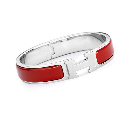 49b378a6de Clic H Bracelet fin en émail Rouge plaqué argent et palladium (diamètre : 6  cm)