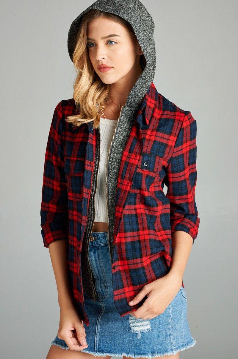 Flannel shirt plus size  Classic Plaid Shirt Zipper Hoodie Combo Top  Products  Pinterest