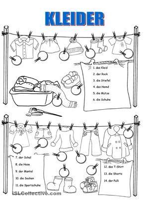 Kleidung | Arbeitsblätter, Deins und Zeichnungen