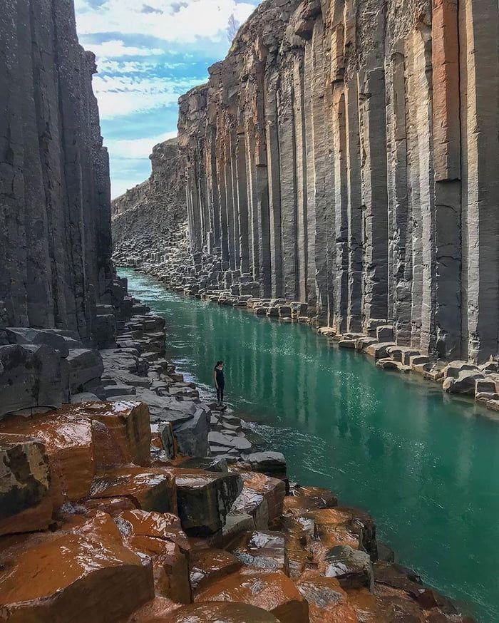 Basalt canyon in Iceland