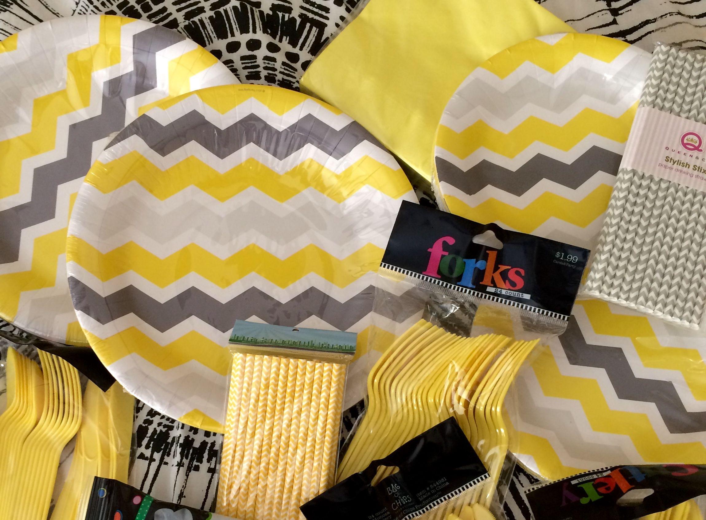 Gray Yellow and White chevron striped plates yellow and gray chevron striped paper straws & Gray Yellow and White chevron striped plates yellow and gray ...