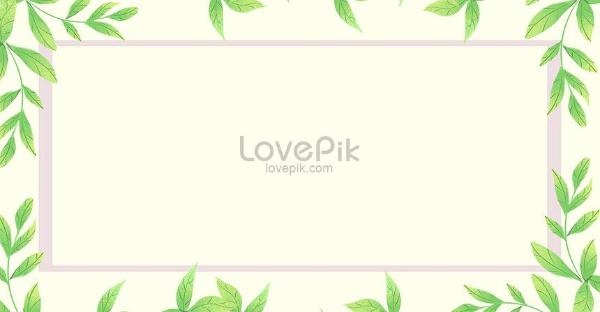 Green Watercolor Leaf Border Illustration Background Green