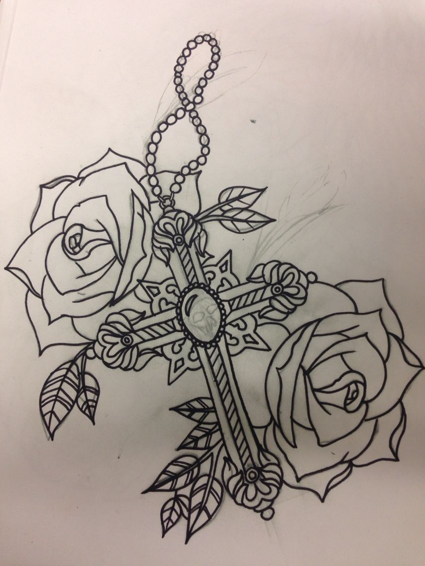 cross and roses tattoo design by kayleigh at mandala tattoo studio tattoos pinterest. Black Bedroom Furniture Sets. Home Design Ideas