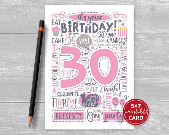 Printable 30th Birthday Card Doodled Thirty Birthday Card In Etsy 18th Birthday Cards 21st Birthday Cards First Birthday Cards