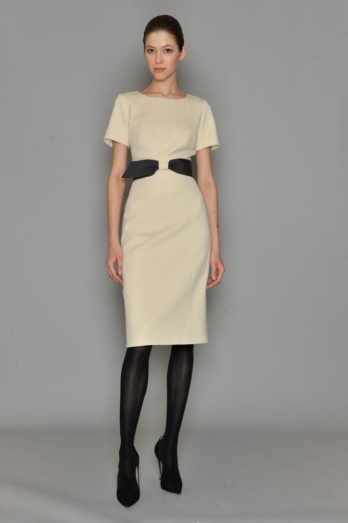 Carolina Herrera Satin Belt Sheath Dress In Ivory In 2020 Fashion Spring Work Outfits Carolina Herrera