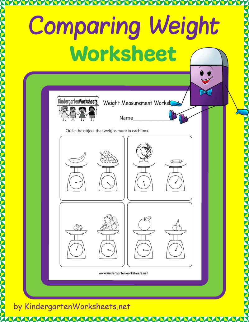 Kindergarten Comparing Weight Worksheet Kindergarten Worksheets Sight Words Kindergarten Subtraction Worksheets Spelling Worksheets Kindergarten [ 1035 x 800 Pixel ]