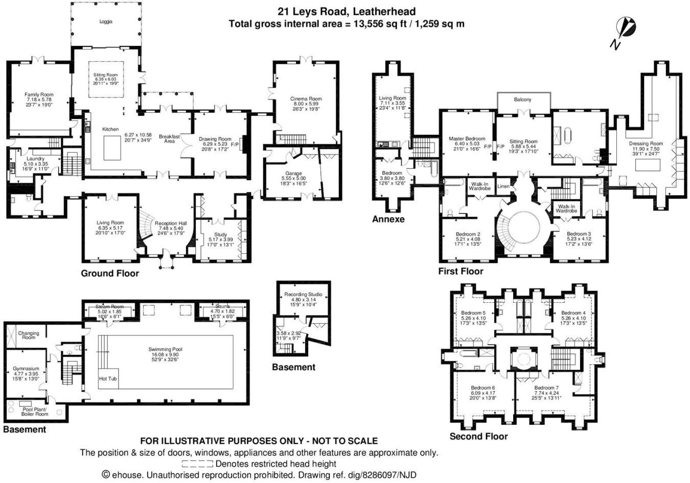 13,500 square foot English estate home. Floor plans for