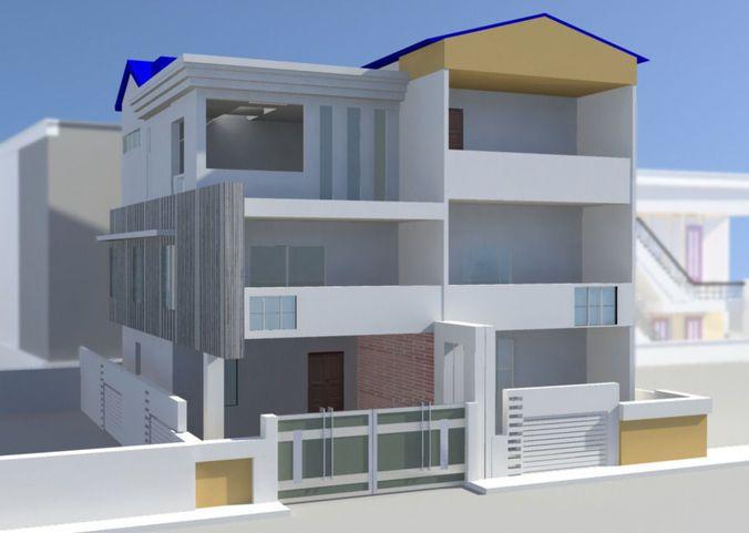 House Exterior 3d Model House Exterior House House Design