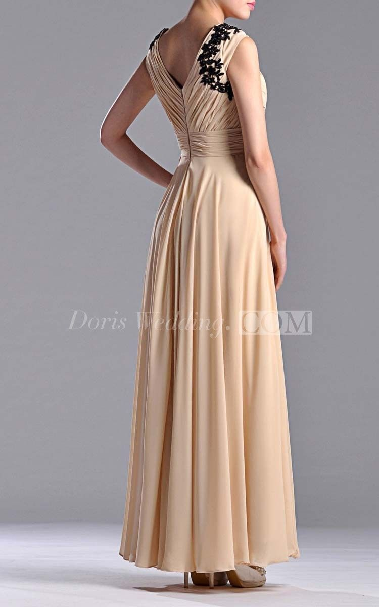 Floor-length V-Neckline Sheath Bridesmaid Dress With Low-V Back Style